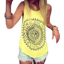 FEITONG Damen Beiläufige Sommer Sun Drucken Ärmellos Bluse Weste T-Shirt Tank Tops (L, Gelb)