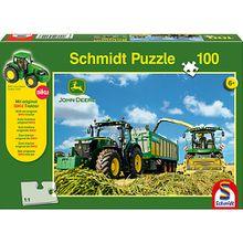 Puzzle John Deere 7310R Traktor mit 8600i Feldhäcksler, 100 Teile inkl. Original SIKU Traktor