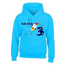 Ich bin 3 Jahre ! - Kinder Geburtstag RAKETE Sweatshirt mit Kapuze HOODIE jungs Birthday sky, Gr.104cm