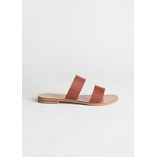 Duo Strap Leather Sandals - Orange