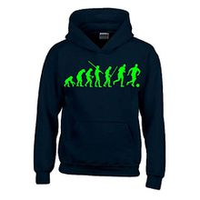 FUSSBALL Evolution Kinder Sweatshirt mit Kapuze HOODIE schwarz-green, Gr.140cm