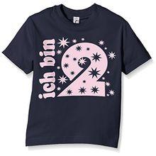 Coole-Fun-T-Shirts Mädchen T-Shirt Ich Bin 2 Jahre !, Gr. One Size (Herstellergröße: 92cm/1 Jahr), Blau (Navy-Pink)