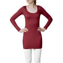 CASPAR SRT012 Damen Basic Longshirt, Farbe:weinrot;Größe:M/L
