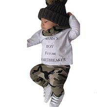 Xinan Bekleidung Set Junge Neugeborenen Kids Baby Boys Outfits Kleidung Letter T-shirt Tops + Camouflage Hose (90, Weiß)