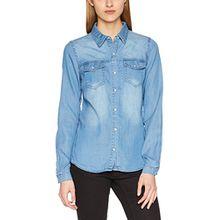 Vila Clothes Damen Hemd Vibista Denim Shirt-Noos, Blau (Medium Blue Denim Wash: Clean), 40 (Herstellergröße: L)