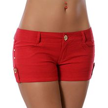 Damen Shorts Hotpants (weitere Farben) No 13776, Farbe:Rot, Größe:XL / 42