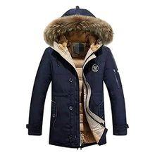 Herren Daunenjacke Kapuze Jacke Winterjacke - hibote Hoodie Winter Mantel Warm Parka mit Pelzkragen GR.XS-XL