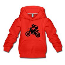 Spreadshirt Biker Cross Enduro Kinder Premium Hoodie, 134/146 (9-11 Jahre), Rot