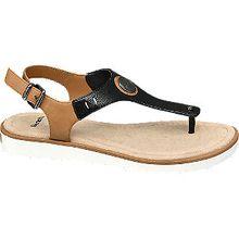 Als trendiger Zehentrenner präsentiert sich die Sandale von Bench. Dabei besticht das luftige Riemendesign nicht nur in einem zeitlosen Schwarz, sondern auch in einem modischen Braun und kreiert so einen trendigen Look, der zu Shorts und kurzen Kleidern für Furore sorgt. Komplettiert wird das Design darüber hinaus von einer 2,3 cm hohen Laufsohle in Weiß. Mit dem Fersenriemen lässt sich der Sommerschuh individuell an den Fuß anpassen.