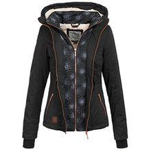 Aiki Damen Jacke Winter Jacke mit Kapuze Kunstfellfutter 2 Reißverschlüsse und Taschen vorne schwarz, Gr: M