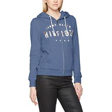 Tommy Jeans Hilfiger Denim Damen Pullover Thdw Basic Grphc Zip Hoody L/S 13, Blau (Mid Indigo 412), X-Small