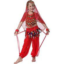Bauchtanz Kostüm Kinder Mädchens Faschings-Kostüm Indische Bollywood Kostüme Rot 152/164