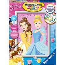 Malen nach Zahlen, 18x24 cm, mit farbigen Motivlinien, Disney Princess: Belle & Cinderella