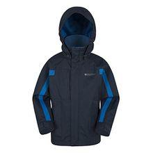 Mountain Warehouse Samson Jacke für Kinder - Verstellbare Bündchen, Taschen, Kinderjacke mit Kapuze, versiegelte Nähte - Idealer Allwettermantel für kaltes Wetter Marineblau 116 (5-6 Jahre)