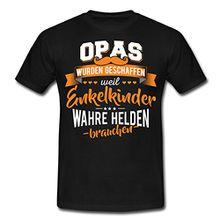 Spreadshirt Opas Wahre Helden Für Enkelkinder Spruch Männer T-Shirt, 4XL, Schwarz