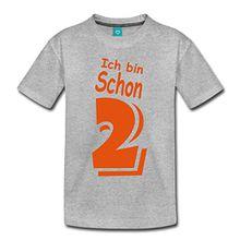 Spreadshirt Geburtstag Ich bin schon 2 Kinder Premium T-Shirt, 98/104 (2 Jahre), Grau meliert