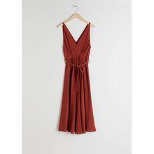Belted Silk Midi Dress - Red