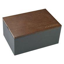 Stackers Herren Mini-Uhren-Box mit Deckel in Holzoptik, Grau