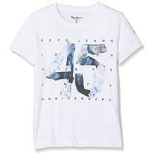 Pepe Jeans Jungen T-Shirt 45 Anniversary, Weiß (Blanc Optic White), 16 Jahre (Herstellergröße: 16)