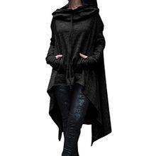 EMMA Damen Herbst Plus Size Asymmetrisch Saum Vorne kurz Hinter lang mit Taschen Pullover Sweatshirts Kapuzenpullover Loose Lange Kapuzen Poncho Pulli(BL,5XL)