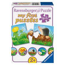 9er Set Puzzle, je 2 Teile, 18x 10 cm, Tiere im Garten