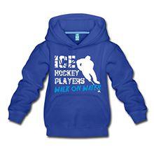 Spreadshirt Eishockey Ice Hockey Players Walk On Water Kinder Premium Hoodie, 152/164 (12-14 Jahre), Royalblau