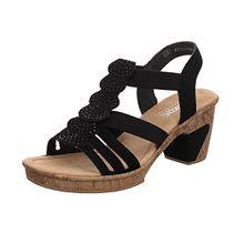 Rieker Damen Sandaletten Sandalette Eleganter Boden 69702-00 Schwarz 135430