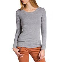 Caspar SRT024 figurfreundliches Damen Langarm Shirt, Farbe:Hellgrau;Größe:S