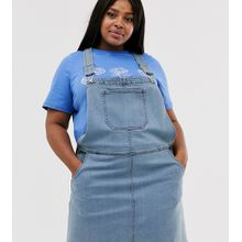 Brave Soul Plus – Trägerkleid mit Taschen-Blau