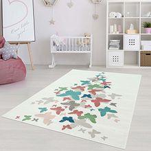 Moderner Kinderzimmer Teppich für das Kinderzimmer Pastel Öko Tex 100 zertifiziert INP-5799-creme Schmetterlinge Multi 160x230 cm