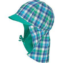 Sonnenhut mit UV-Schutz 30 mit Nackenschutz zum Binden  grün/weiß Jungen Kinder