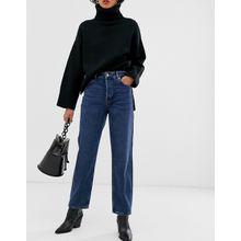 Selected Femme - Blau verwaschene Jeans mit geradem Bein und hohem Bund - Blau