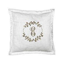 Kissenbezug Kissenhülle 'Elvi' 45x45 cm weiß mit aufgesticktem Monogramm in beige Baumwolle Landhaus Shabby French Vintage Retro Antik Nostalgie
