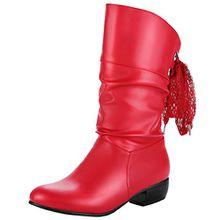 AIYOUMEI Damen Halbschaft Stiefel mit 4cm Absatz und Spitzenband Bequem Freizeit Herbst Winter Stiefel(34-47)