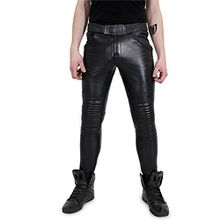 Bockle® Baby Biker Joggers schwarze Herren Jogging Lamm Lederhose, Size: XXL