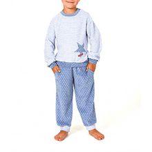 Mädchen Frottee Pyjama lang mit Bündchen - Grössen 86 - 110 - 251 701 93 100, Farbe:Ringeljeans;Größe:110