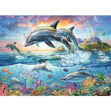 2-tlg. Puzzle & Malbuch Set, 100 Teile XXL, 49x36 cm, Bunte Unterwasserwelt