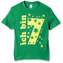 Coole-Fun-T-Shirts Jungen T-Shirt Ich Bin 7 Jahre!, Gr. One Size (Herstellergröße: 128cm/6-7 Jahre), Grün (Green-Gelb)