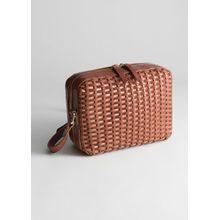 Basket Weave Crossbody Bag - Brown