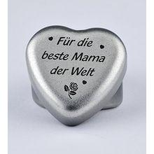 """Duftkerze Teelicht Vanille in Herzform mit Gravur """"Für die beste Mama der Welt"""" auf dem Deckel als Geschenk zum Muttertag, Geburtstag oder zu Weihnachten"""