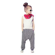 Saingace Mädchen Outfit Kleidung Weste Hemd Tops + Plaid Harem-lange Hosen-Hose (130)