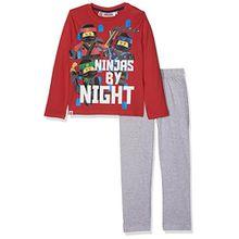 Lego NINJAGO Jungen Zweiteiliger Schlafanzug 162016, Rouge (Racing Red 19-1763/Peacoat 19-3920TCX/Lt Greymelange), 5 Jahre