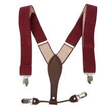 UTOVME Herren Damen Y-Form Hosentraeger mit hochwertiger Leder 4 Clips Vintage Stil in Geschenkkarton Weinrot+Weiss Polka Dots