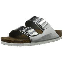 BIRKENSTOCK Damen Arizona Leder Softfootbed Pantoletten, Silber (Metallic Silver), 38 EU