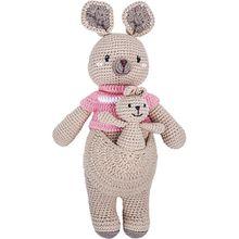 Häkel-Känguruh mit Baby und Pullover, 42cm