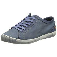Softinos Damen Isla Washed Leather Sneaker, Blau (Navy-552), 42 EU
