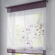Souarts Lila Stickblume Gardine Raffgardinen Vorhang Raffrollo Schlaufenschal Deko für Wohnzimmer Schlafzimmer Studierzimmer 80*120cm