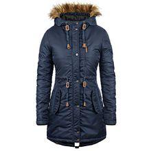 BLEND SHE Eda Damen Parka Winterjacke lang mit Kapuze aus hochwertigem Material, Größe:L, Farbe:Navy (70230)