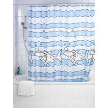 Wenko 19229100 Duschvorhang Sharky - hochwertiges Textilgewebe, 180 x 200 cm