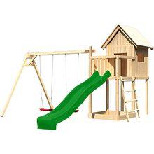 Spielturm Frieda mit Anbau, Satteldach, Doppelschaukel und Rutsche grün